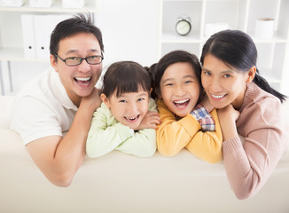 happy  family in the living room