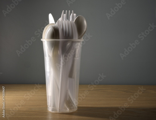 Leinwanddruck Bild Plastikbesteck