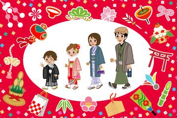 Kimono Family and Japanese good luck charms