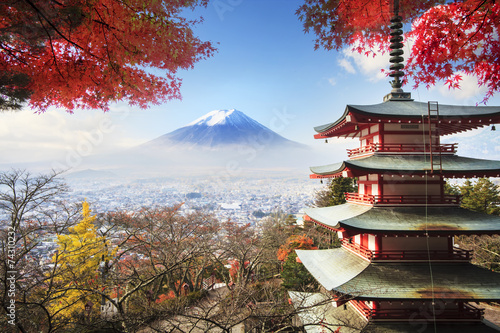 Mt. Fuji with fall colors in Japan. - 74310232