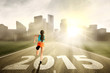 Woman running towards the future