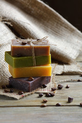 Soap with lavender chocolate juniper and coffee beans