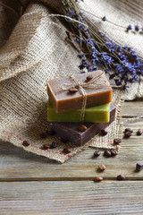 Natural Soap on napkin with a lavender