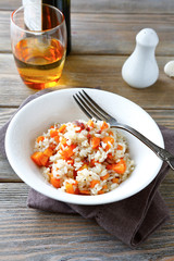 steamed rice with carrots and spices