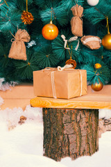 Christmas gift lies on a tree stump in front of a Christmas tree