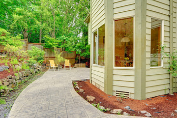 Walkout patio with sitting area