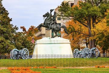 Jackson Statue Canons Lafayette Park Autumn Washington DC