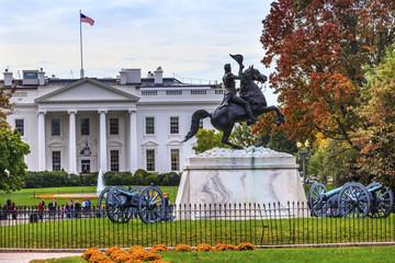 Jackson Statue Lafayette Park White House Autumn Washington DC