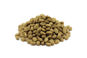 a handful of cat food on a white background