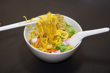 Khao Sawy Northern Thai Noodle Curry Soup  with chicken