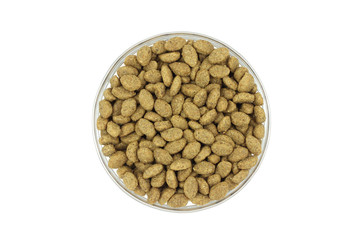 cat food in a glass container on a white background
