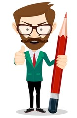 Smiling cartoon Businessman or teacher in jacket with a big red