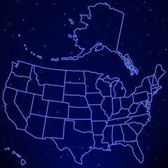 USA map on starry sky
