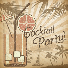 Cocktail party poster in retro style
