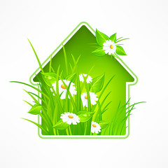 House symbol with green grass, vector illustration