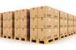 Warehouse with cardbaord boxes on shipping pallets