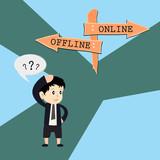 metaphor humour design , online vs offline poster