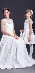 Bride With young little Bridesmaids, indoor studio shot