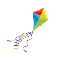 Flying kite isolated on white vector
