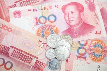Modern Chinese yuan renminbi banknotes and coins