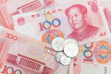 Chinese yuan renminbi banknotes and coins