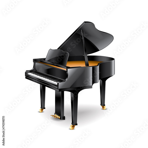 Piano isolated on white vector - 74314870