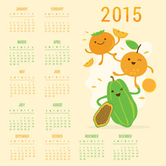 Calendar 2015 Fruit Cute Cartoon Papaya Orange Persimmon Vector