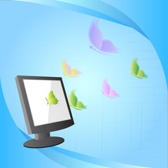 concept design, butterfly flying out from computer