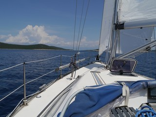 A yacht sailing in the Adriatic sea of Croatia