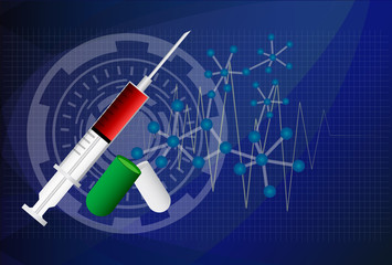 Digital illustration of syringe in colour background