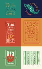 Mexican set Insignias | Day of the Dead