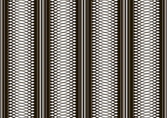 Seamless black and white pattern of interlacing curves