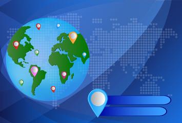 World Mapwith GPS Icons. Global Navigation