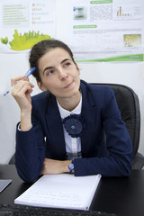 Front office thinking girl