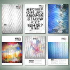 Geometric backgrounds, abstract hexagonal patterns. Brochure,