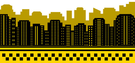 taxi background with urban landscape