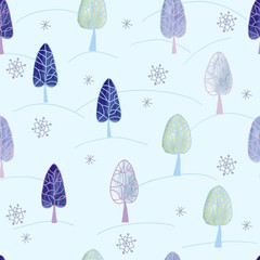 Seamless pattern with  winter trees.