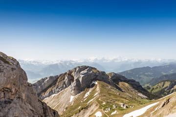 Mountain Range Landscape with Blue Sky from Pilatus Peak