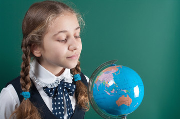schoolgirl and globe