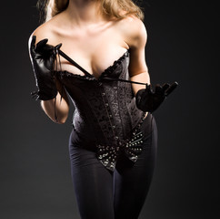 Young female dressed in corset