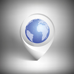 Map pointer with globe of world. White icon template vector