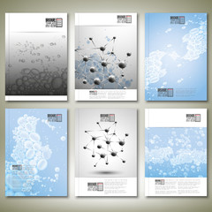 Drops in water, molecule structure. Brochure, flyer or report