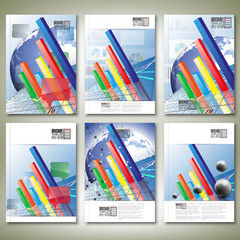 Progressive Bar chart. Brochure, flyer or report for business,