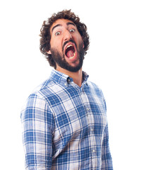 young  surprised and frightened man