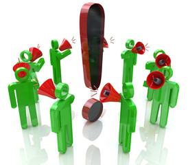 3D people with megaphones around the exclamation mark
