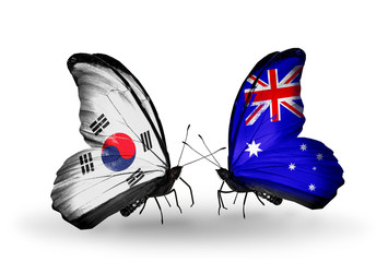 Two butterflies with flags South Korea and Australia