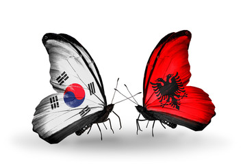 Two butterflies with flags South Korea and Albania