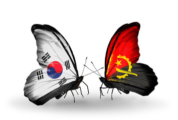 Two butterflies with flags South Korea and Angola
