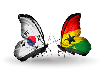 Two butterflies with flags South Korea and Ghana
