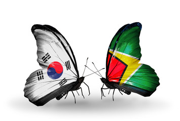 Two butterflies with flags South Korea and Guyana
